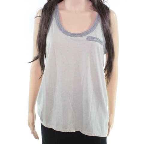Chaser Women's Top Gray Medium Front Pocket Two Tone Tank