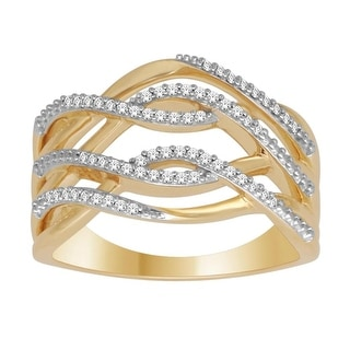 10K Gold Statement Ring Natural Diamond 0.15ctw Extra Wide by Midwest Jewellery - White