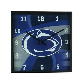 Penn State Nittany Lions Carbon Fiber Print 11 Inch Square Wall / Table Clock - navy