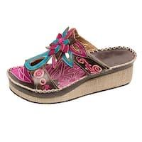 Women's St Martin Platform Wedge Sandals -Pink Blue Leather Flip-Flops