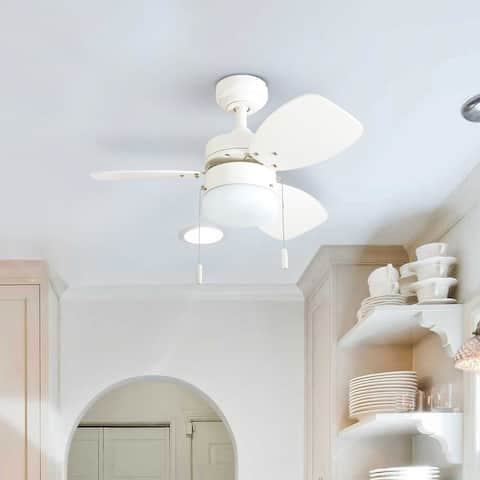 """Honeywell Ocean Breeze 30"""" White Small LED Ceiling Fan with Light"""