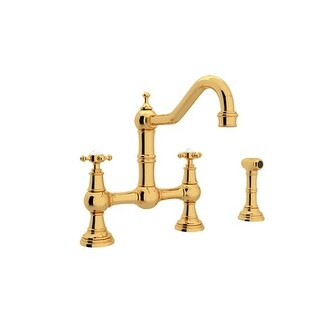 Rohl U.4755x-2 Perrin and Rowe Bridge Kitchen Faucet with Side Spray and Metal Cross Handles