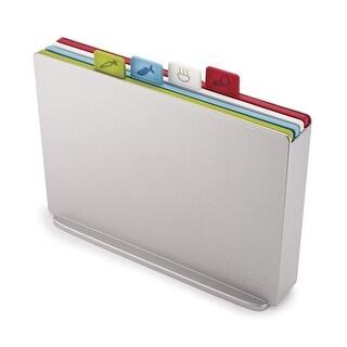 Joseph Joseph 60134 Index Plastic Cutting Board Set with Storage Case Color-Coded Dishwasher-Safe Non-Slip, Large, Silver