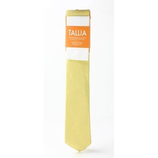 Tallia NEW Yellow White One Size Woven Neck Tie & Pocket Square Set