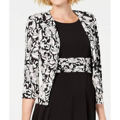 Jessica Howard Women's Jacket White Black Size 16 Baroque Print