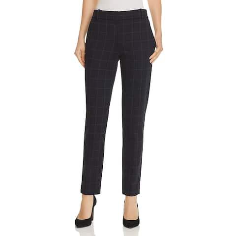 Theory Womens Trouser Pants Check Print Straight Leg