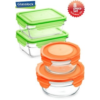 Glasslock 8 Piece Rectangular and Round Food Container Storage Set