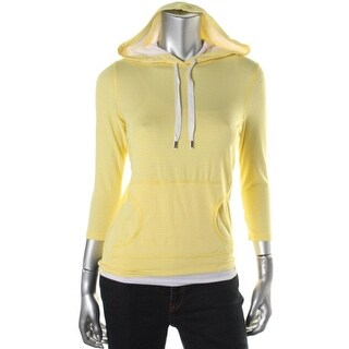 Lauren Active Womens Hooded Striped Pullover Top - XS