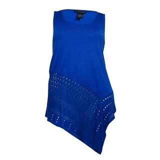 Grace Elements Women's Pointelle Hem Knit Tank - olympian blue