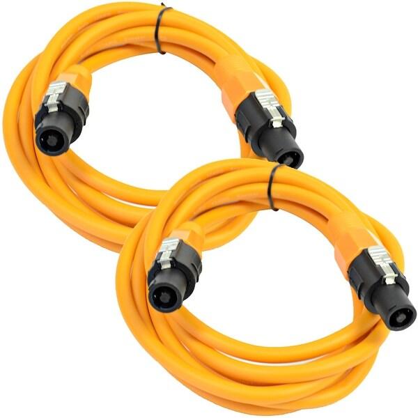 SEISMIC AUDIO Pair of 12 Gauge 10' Orange Speakon to Speakon Speaker Cables 10'