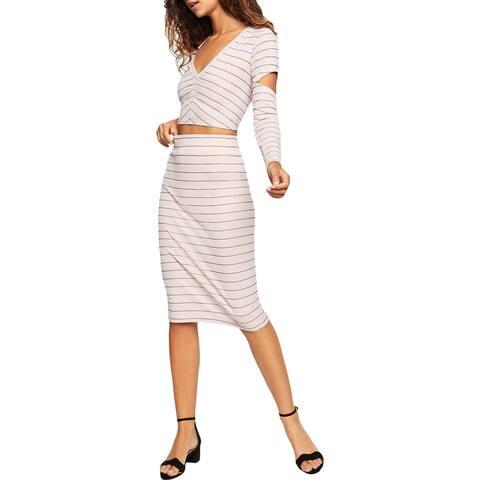 BCBGeneration Womens Pencil Skirt Striped Knee-Length