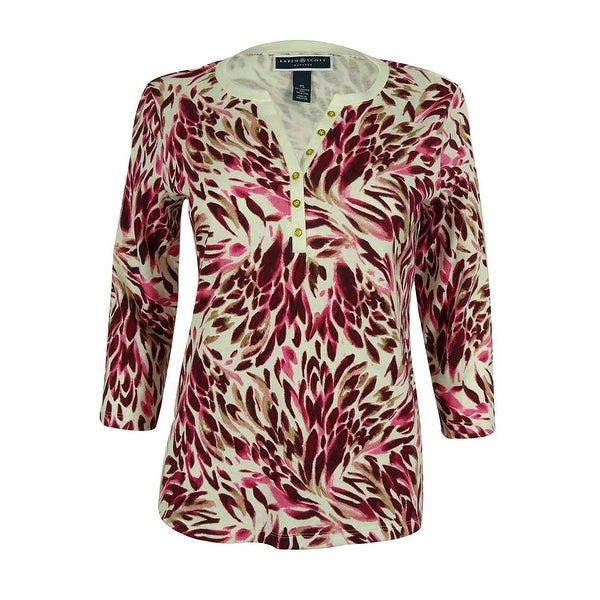 f7affe49 Shop Karen Scott Women's 3/4 Sleeve Floral-Print Split Neck Top ...