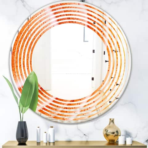 Designart 'Kazakhstan Red agate macro' Modern Round or Oval Wall Mirror - Wave