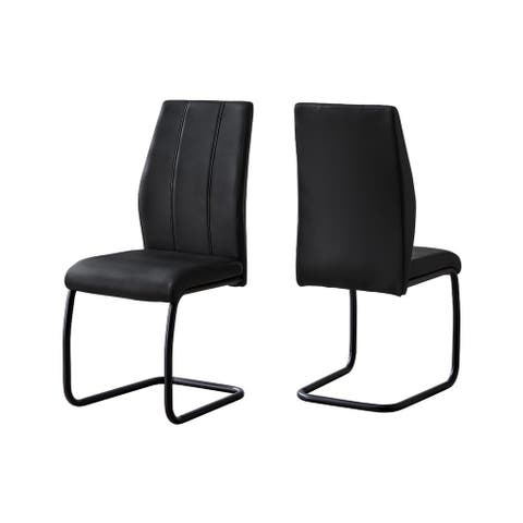 """Offex 39""""H Contemporary and Modern 2 Piece Leather-Look/Metal Dining Chair"""