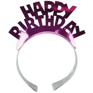 Happy Birthday Assorted Colors - Foil Tiaras 4/Pkg