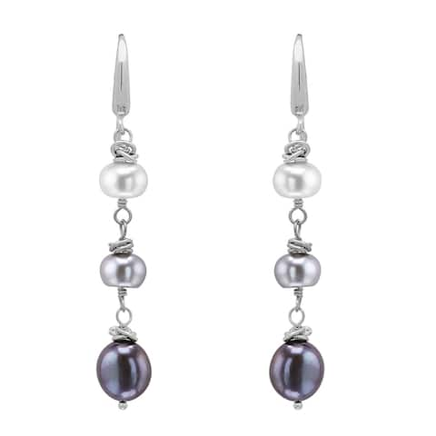 Honora 7-10 mm Multicolor Freshwater Pearl Color Crush Earrings in Sterling Silver - Black