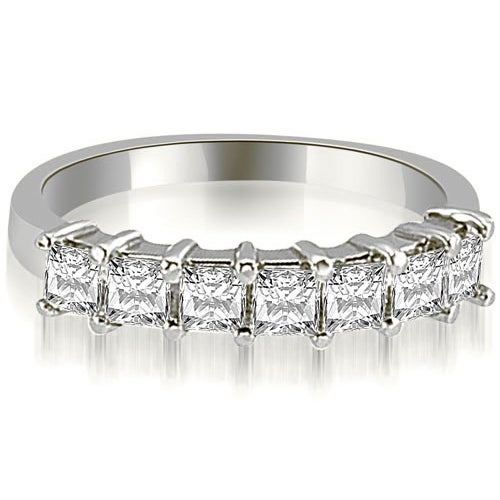 1.20 cttw. 14K White Gold Princess Diamond 7-Stone Prong Wedding Band