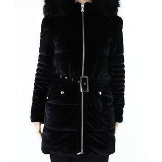 INC NEW Black Womens Size XS Velvet Fauc-Fur Hooded Quilted Jacket