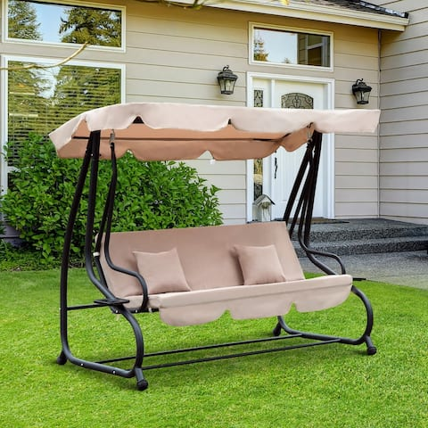 Outsunny 3 Seat Outdoor Free Standing Covered Swing Bench with Comfortable Cushioned Fabric & Included Canopy, Beige