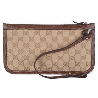 Gucci Men's 379016 Beige Brown Original GG Guccissima Canvas Zip Top Pouch - original