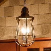 """Luxury Vintage Outdoor Pendant Light, 20""""H x 9.5""""W, with Nautical Style, Cage Design, Estate Bronze Finish"""