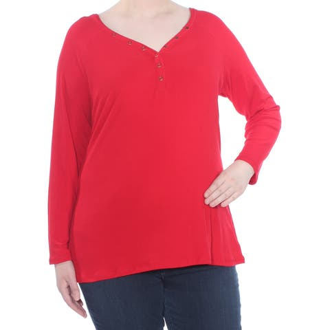 PLANET GOLD Womens Red Snap Placket Henley Long Sleeve Top Plus Size: 3X