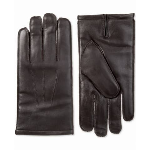 Isotoner Men's Gloves Brown Size Large L Driving Smart Touch Leather