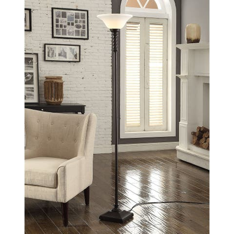 """Cooper Ridge 70"""" Black Twist Floor Lamp with Frosted Shade"""
