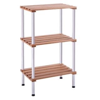 3-Tier Wood Slat Storage Rack Display Shelving