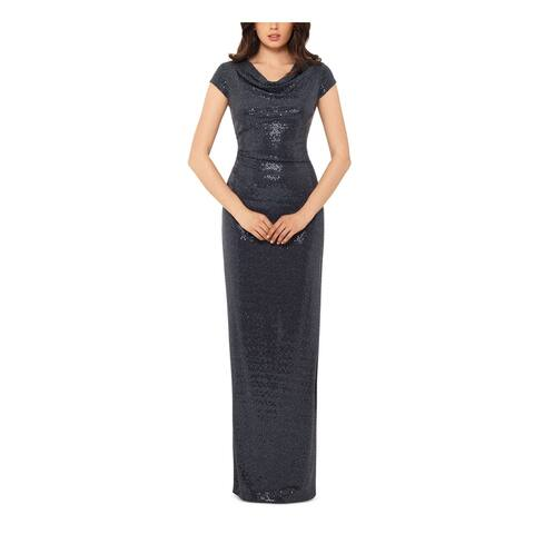 XSCAPE Gray Cap Sleeve Full-Length Sheath Dress Size 10