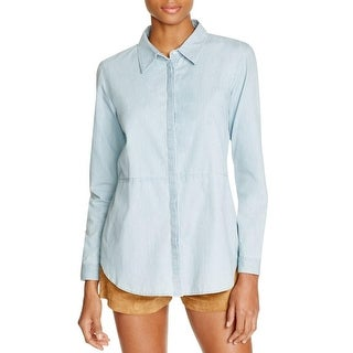 Viktoria & Woods Womens Button-Down Top Chambray Open Back