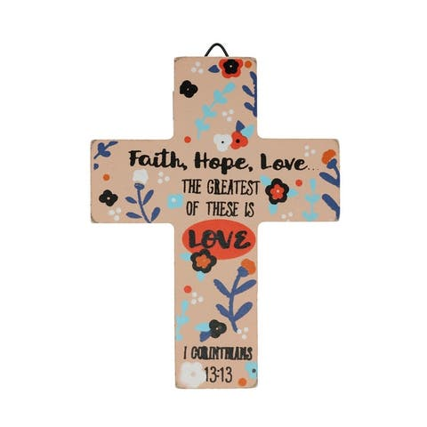 Spiritual Harvest Floral Scripture Wooden Easel Cross - one size