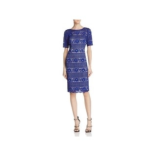 Adrianna Papell Womens Cocktail Dress Lace Beaded