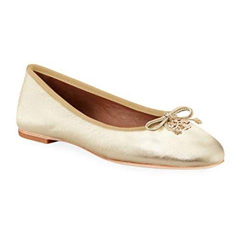 Tory Burch Womens Spark Gold Ballet Flats