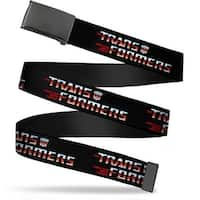 Blank Black  Buckle Transformers Logo Black Blue Red Fade Webbing Web Belt