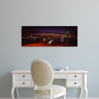 Easy Art Prints Panoramic Images's 'Buildings lit up at the waterfront, Lake Michigan, Chicago, Illinois' Canvas Art