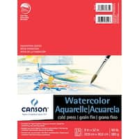 Canson Acid-Free Cold Press Light-Weight Watercolor Pad, 90 lb, 9 X 12 in, 15 Sheets, Natural White
