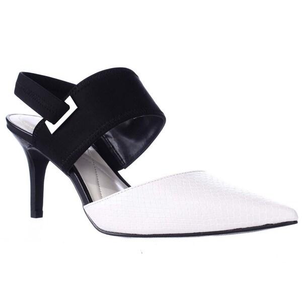 A35 Jolum Pointed Toe Slingback Heels, Ivory/Black