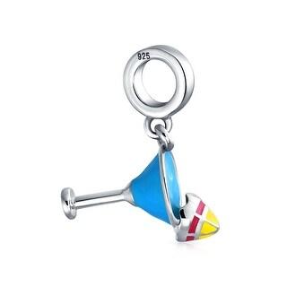 Bling Jewelry Beach Margarita Drink Blue Enamel Charm Bead .925 Sterling Silver