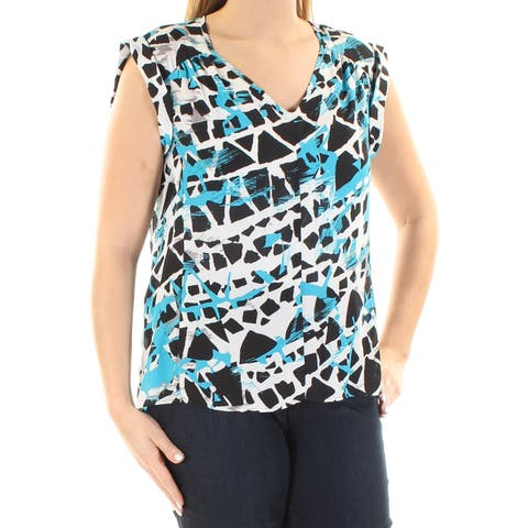 NINE WEST Womens White Printed Cuffed Jewel Neck Hi-Lo Top Size: L