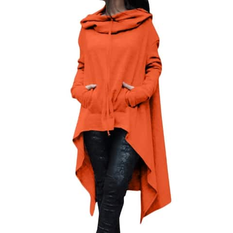 Solid Color Long Hooded Sweater