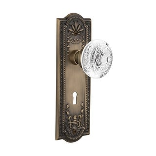 "Nostalgic Warehouse MEACED_PRV_238_KH  Vintage Crystal Egg and Dart Privacy Door Knob Set with Meadows Rose, 2-3/8"" Backset and"