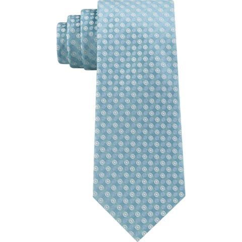 Calvin Klein Mens Neck Tie Polka Dots Silk Blend - Blue - O/S