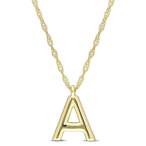 Miadora 14k Yellow Gold A Initial Necklace - 11.3 mm x 17 inch x 8.4 mm - 11.3 mm x 17 inch x 8.4 mm