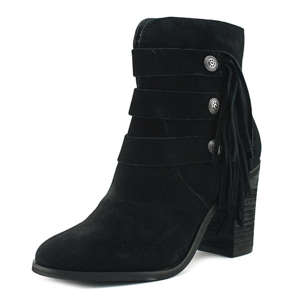 Yellow Box Upon Women Round Toe Suede Black Ankle Boot