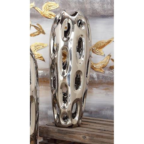 Strick & Bolton Tatum Ceramic Silver Vase - 6 x 6 x 16