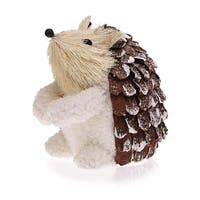 "Pack of 2 Country Rustic Sigmund the Hedgehog Snowy Pine Cone Christmas Table Top Decorations 5"" - brown"