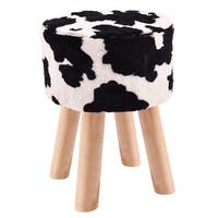 Costway Faux Fur Round Stool Seat Lovely Cow Pattern Home Furni Decor W/4 Wooden Leg
