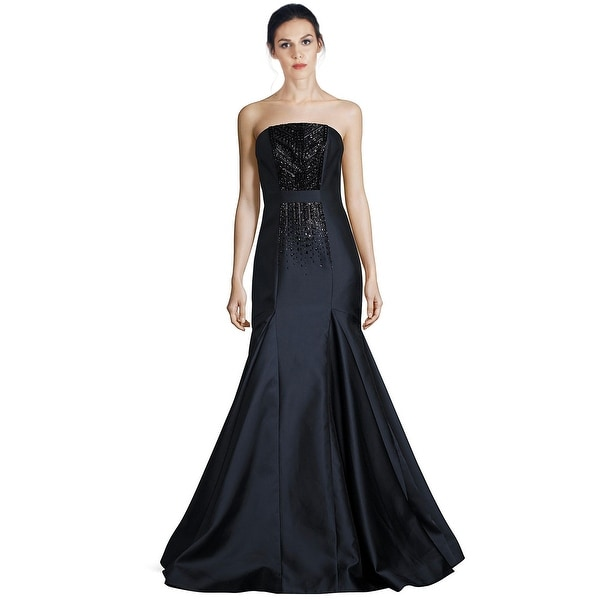 Shop David Meister Strapless Beaded Mermaid Evening Gown Dress ...