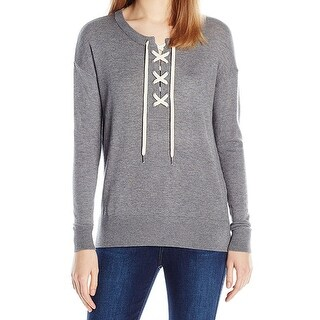Splendid Heather Womens Lace-Up Pullover Sweater